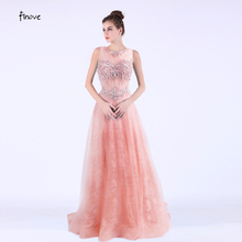 Scoop Neck Lace Prom Dress with Beaded Back Zipper Discount Party Prom Gowns Sleeveless A Line Prom Dress Floor Length BTEDDZ066(China)