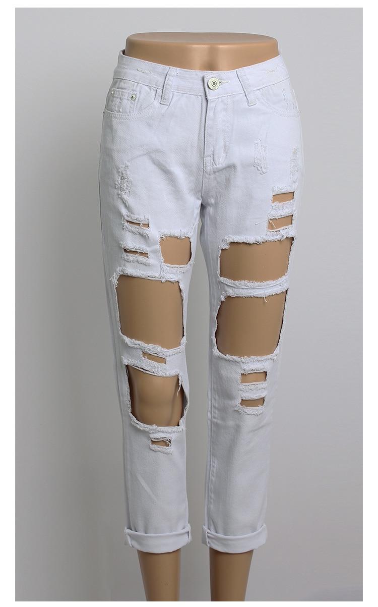 Wholesale 2016 New unique Fashion Runway hiphop hole wornout ripped girl pants Jean destroy womens slim Denim jeans trousersÎäåæäà è àêñåññóàðû<br><br>