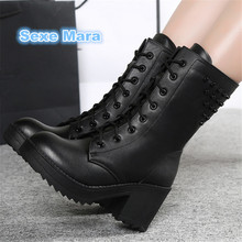 Outdoor Winter Women boots New thigh high boots leather snow boots lace-up Thick base Casual shoes zapatos mujer tenis feminino