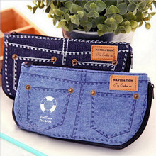 50 pcs Creative denim shorts big capacity pencil case canvas cosmetic bag