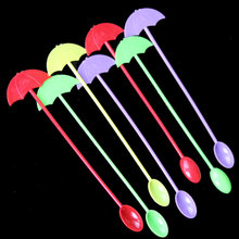 20pcs/lot Umbrella Plastic Disposable Mixing Coffee Stirring Spoon Cute Cocktail Tea Milk Long Mixing Stirring Rod Kitchen Bar(China)