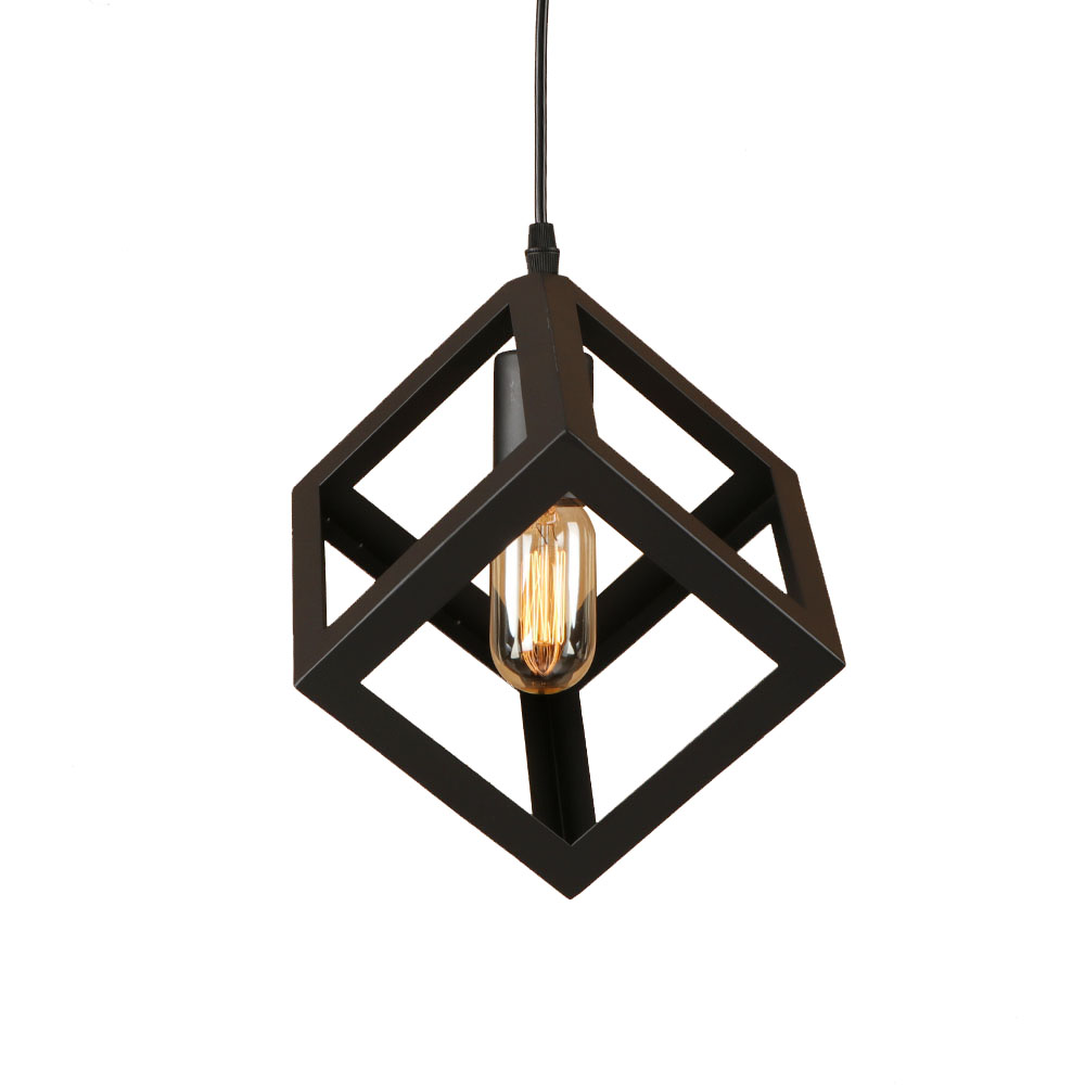 Loft iron black pyramid/square style pendant lamp adjust cord E27 LED hang lamp retro pendant lights for living room bedroom<br>