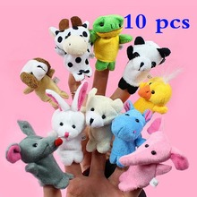 10PCS Cute Cartoon Biological Animal Finger Puppet Plush Toys Child Baby Favor Dolls Tell Story Props Animal Doll Kids Toys(China)