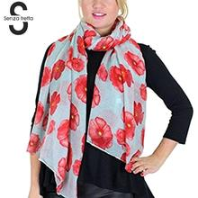 Senza Fretta Women Autumn Elegant Red Sakura Stole Shawl Scarf Ladies Flower Print Voile Long Scarf Beach Wrap Shawl DWW2100(China)