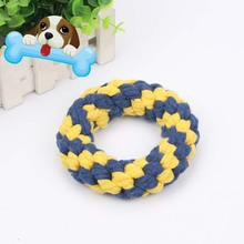 Pet Dog Chew Toy Dental Teething Bite Resistant Puppy Small Dogs Tooth Molars Toys Cotton Braided Rope Ring HG99(China)