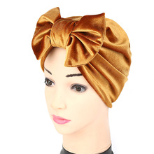 Soft Velvet Bow Tie Turban Hat , Women's Chemo Hat Hair Covering Hair Loss Hat , Hijab Turban