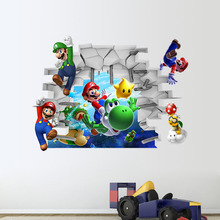 Latest 3D Wallpaper Cartoon Game Super Mario Bro Poster Decal Wall Stickers Home Decor for Kids Room(China)