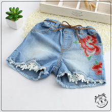 Girl Short Jeans Cotton Denim Kids Shorts Embroidery Flowers Girls Lace Shorts 2-7y Wholesale Childrens Clothes