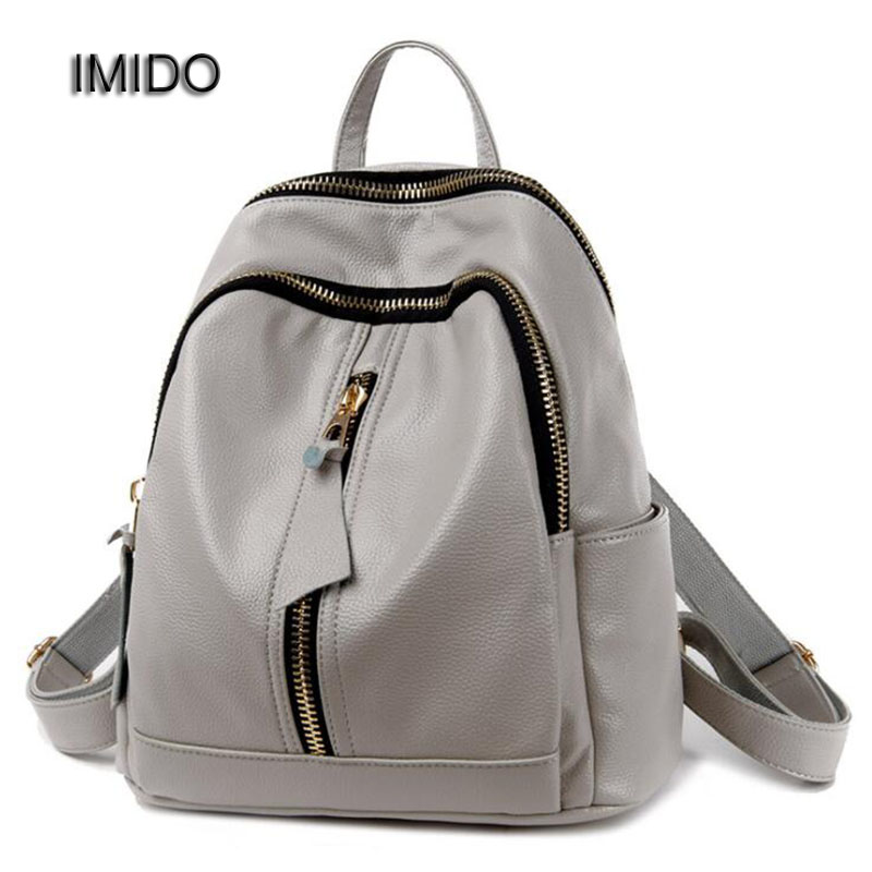 IMIDO 2017 Fashion Female Backpack PU Women Bags Leather Backbag Casual Girls School Shoulder Backpacks Grey Blue Black SLD063<br>