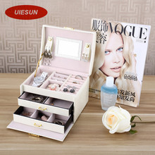 Three Layers Women Gift Jewelry Box Travel Makeup Organizer Faux Leather Case with Mirror and Lock Jewelry Organizer UIE385