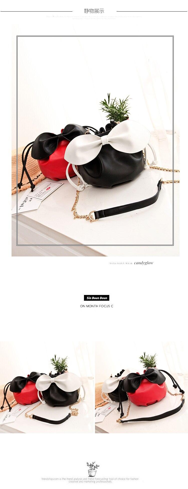 2017 new bowknot decoration bucket bag, the color fashion single shoulder bag, cute chain girl bag