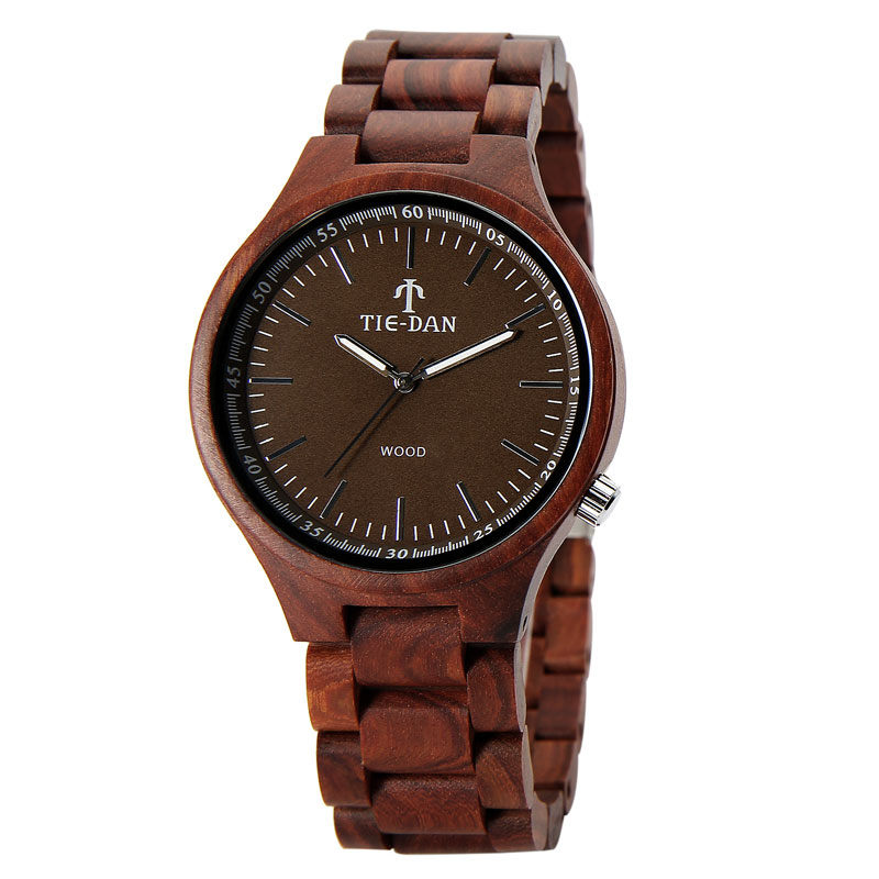Brown Natural Wood Watch Full Wooden Wrist Watch Casual Analog Men Watch Folding Clasp Quartz Watch Women Clock Online Sale<br>