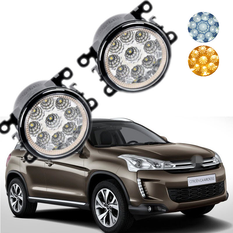 For Citroen C4 Aircross 2012-2016 9-Pieces Leds Chips Yellow / White LED Fog Light Lamp H11 H8 12V 55W Halogen Fog Lights<br>
