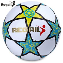 2016 Hot Sale Soccer Ball Regail Five-pointed Star PU White Synthetic Leather Football For Younger Teenager Game Training(China)