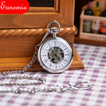 Vintage Shining White Silver Engraved Case Men Mechanical Pocket Watch Watches With Chain Hand-Winding Necklace Gift Men PW182