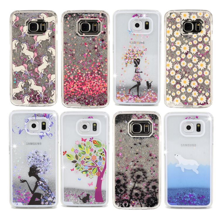 samsung galaxy s6 phone cases for girls. windbell unicorn heart girl chic star liquid glitter plastic case for samsung galaxy s6 s7 edge phone cases girls