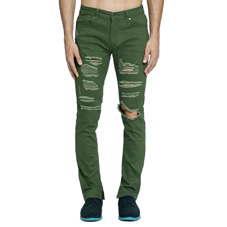 HTB19ys7d7.HL1JjSZFuq6x8dXXaX Army Green Ripped Jeans Fashion
