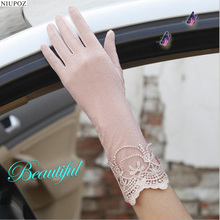 Sexy Spring Summer Women Autumn UV Sunscreen Short Sun Gloves Fashion Ice Silk Lace Driving Of Thin Touch Screen Gloves G02B(China)