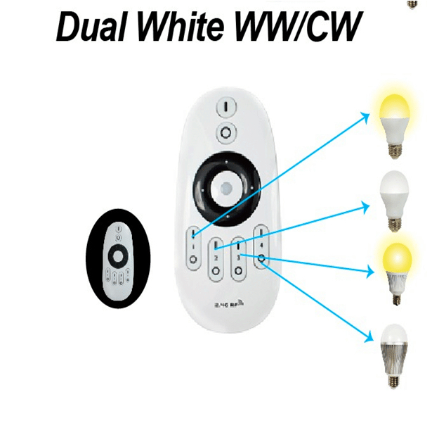 4pcs 2.4Ghz RF LED WW/WC Bulb 6W + one piece of WW/CW remote<br>