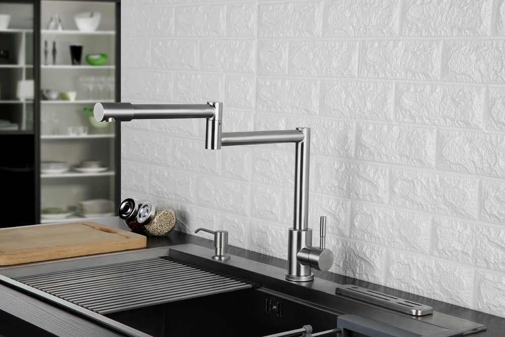 Folding Kitchen Faucet Stretchable Swing Arm Brushed  Single Hole Single Handle Deck Mounted Cold & Hot Kitchen Sink Faucet  (3)
