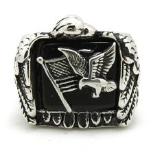 Punk Cool 316L Stainless Steel America Flag Smart Eagle Biker Ring With Stars