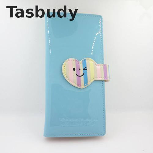 New arrival Glossy PU leather cute smile face women wallet long pattern purse women brand designed female purse card holder<br><br>Aliexpress