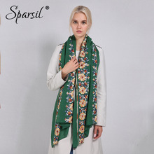 Sparsil Women Cotton Linen Blend Scarves Flowers Embroidery Shawls Basic Floral Print Pashmina Scarf Ladies Wraps Size 180*90cm(China)
