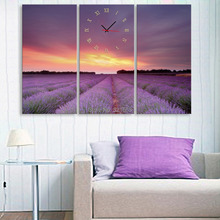 Free Shipping Art Print Purple Lavender Clock in Canvas 3pcs wall clock(China)
