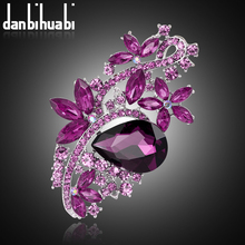 Jewelry 2017 New Fashion Crystal Flower Brooch Beautiful Design Colorful Rhinestone Brooches For Women Wedding & Party(China)