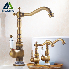 Modern Brass Ceramic Handle Bathroom Sink Mixer Faucet Antique Rotation Bathroom Kitchen Hot and Cold Water Taps(China)