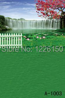 Free Digital spring waterfall Backdrop A- 1003,10*10ft vinyl photography,photo studio backgrounds backdrops,fondos fotografia<br>