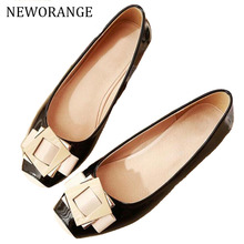NEWORANGE 2017 Buckle Women Flats Spring Autumn Patent Leather Women Shoes Square Toe Lady Footwear Slip On Size 34-43 WFS762