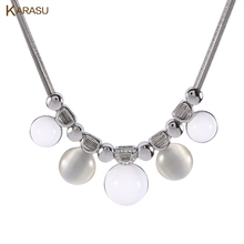 KARASU Elegant Hemisphere Simulated Pearl and Round Opal Snake Chain Necklace & Pendant for Women Fashion Jewelry(China)