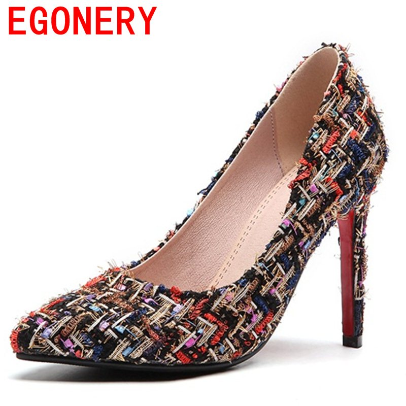 EGONERY The queen style female stiletto elegant pointed toe wedding shoes slip on comfortable spats thin high heels pumps woman<br>