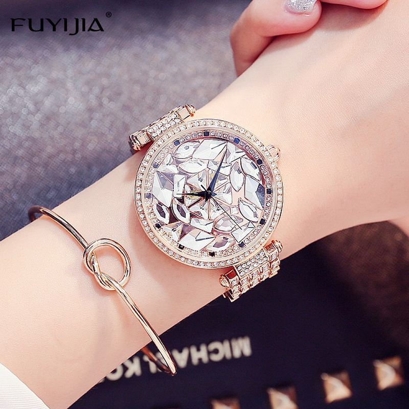 NEW Dress Womens Quartz Watches Ladies Steel Bracelet Watch Top Brands FUYIJIA Luxury Watch Rose Gold Lady Waterproof Watch<br>