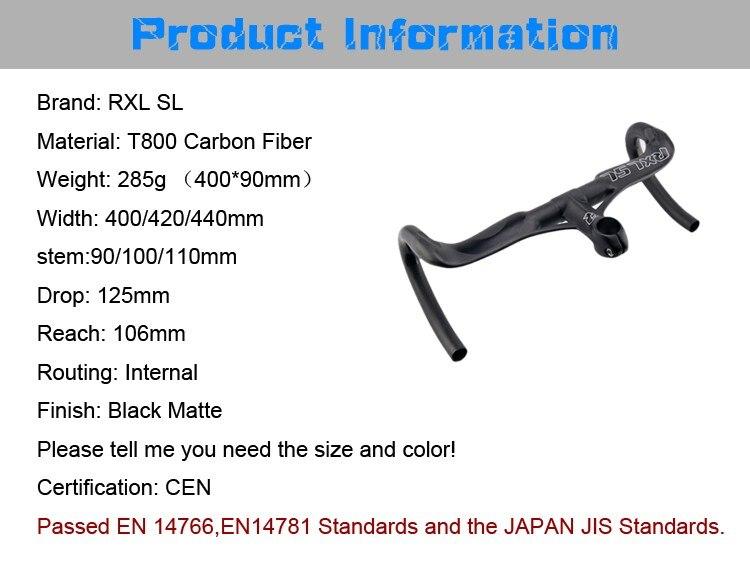 RXL SL Bicycle Handlebar Carbon Integrated Stem 28.6mm Carbon Handlebar Road Bike Black UD Matt 401-500mm Bicycle Handlebars  (5)