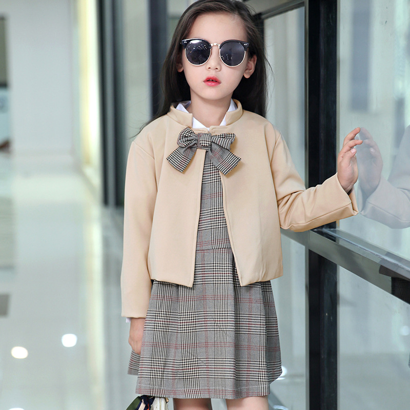 Girls school uniform set 2017 autumn outwear new childrens trench two pieces of clothing 5-6-9-14 years old girls clothing set<br><br>Aliexpress