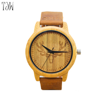 2017 Hot Selling Fashion Wood Watch Natrual Bamboo Wrist Watch With Genuine Leather Bracelet Men Clock Women Gift(China)