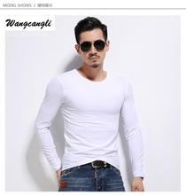 Wangcangli Brand Cotton Solid Color t shirt men fashion long sleeve casual real madrid black compression shirt combat shirt