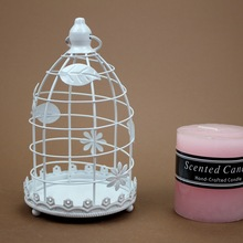Mediterranean Style White Bird Cage Wrought Iron Candle Holders Metal Candlesticks Home Decor Craft Wedding Decoration