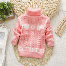 Kids Sweaters 2017 New Children's Sweater Boys and Girls Long Sleeved Tops for Children Turtleneck Outfit Preppy Style Multi(China)