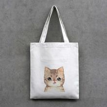 Casual cute sweet cat print handbag canvas bag reusable shopping shoulder bag totes students satchel cute cat bag