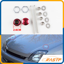 RASTP-Universal  Mini Hood Pins Lock  Push Button Billet Clip Kit Car Quick Latch New For  Mustang 4.6L V8 96-04 LS-ENL012