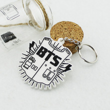 SHUANGR New Arrival Fashion K-pop BTS Bangtan Boy Bulletproof Keychain Pendant Fashion Key Chain Chaveiro Key Ring For Men/Women