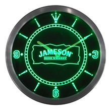 nc0119 Jameson Whiskey Bar Club Pub Neon Sign LED Wall Clock