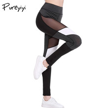 Buy Pureyiyi See Leggings Fitness Pants Patchwork Leggings Women Black Mesh Insert Casual Workout Leggings Adventure Time for $11.19 in AliExpress store