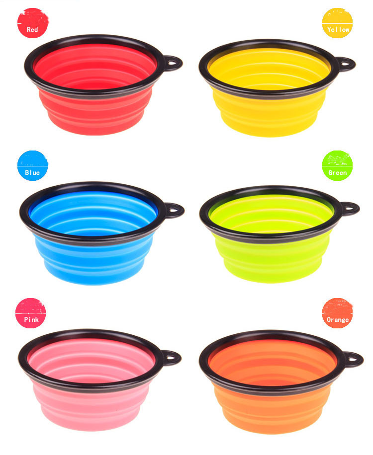 Dog Travel Silicone dog food bowl, PORTABLE & CONVENIENT Expands for use and collapses for travel | DogsMall-International