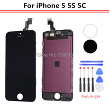Top AAA quality lcd For iPhone 5 5C 5S AAA Display Touch Digitizer Complete Screen with Frame Assembly Replacement +Tool Kits