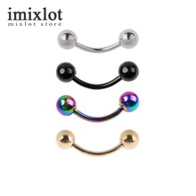 8Pcs Titanium Anodized Black Gold Silver Multi 316L Stainless Steel Curved Barbell with Balls Eyebrow Ear Body Piercing Ring 18g