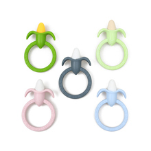 1 PC Safety Healthy Food Grade Silicone Soft Baby Teethers Mom Feeding Nursing Training Toys Corn Shape Ring Chew Toy(China)